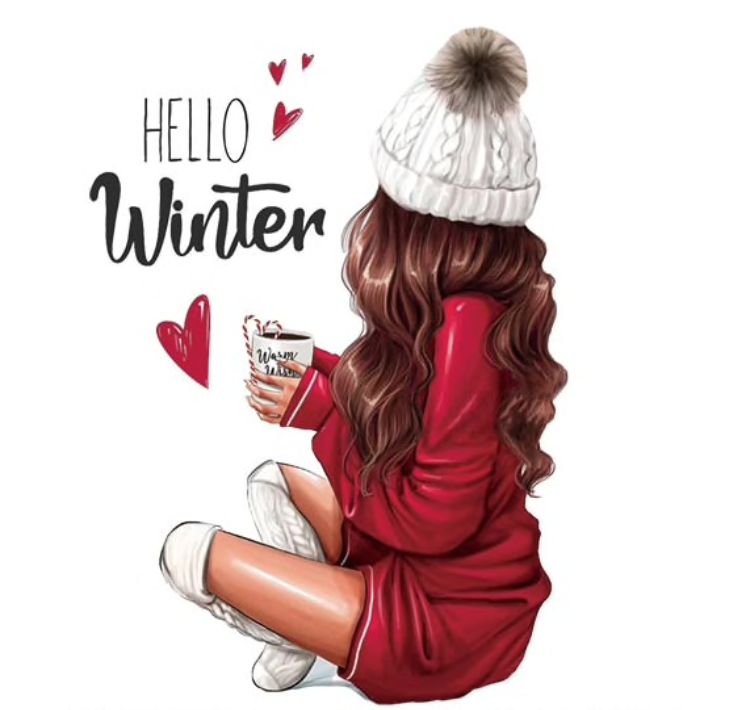 Transfert thermocollant 'hello winter' / 2 tailles