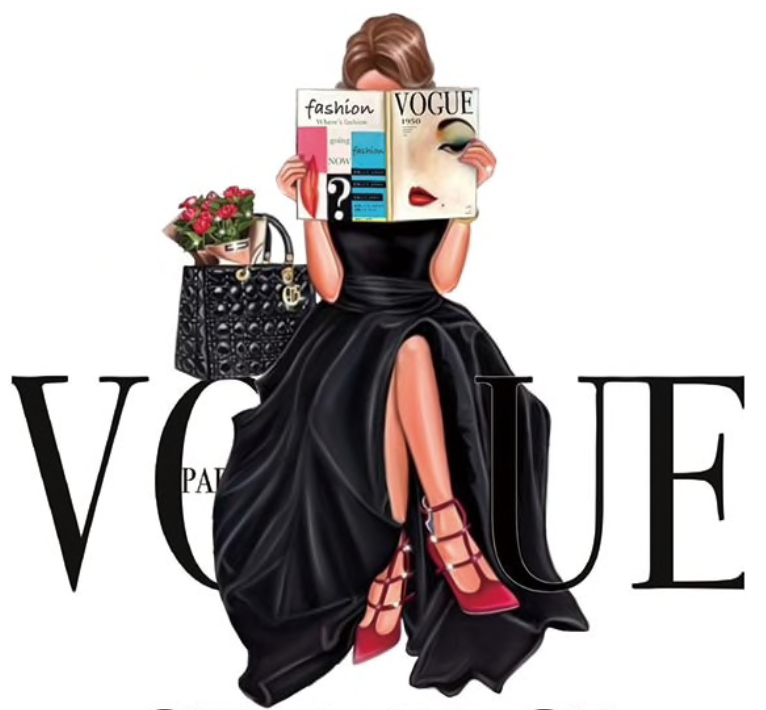Transfert thermocollant 'vogue magazine' / 2 tailles